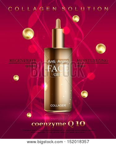 Coenzyme Q10. Anti age cream for face skin care with collagen serum. Cosmetic background with bottle. Vector illustration EPS 10 format