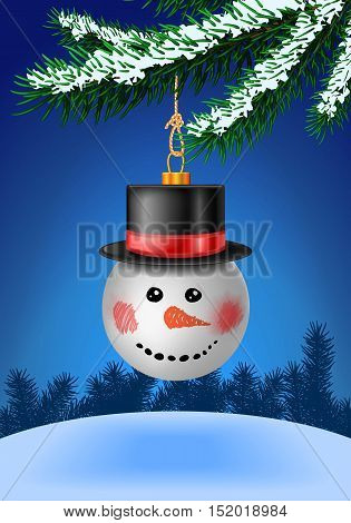 Snowball bauble in black hat on christmas tree with snow on evergreen branches. Bauble decoration. Vector illustration on blue background