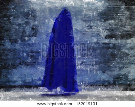 Painted cloaked figure  3D Render
