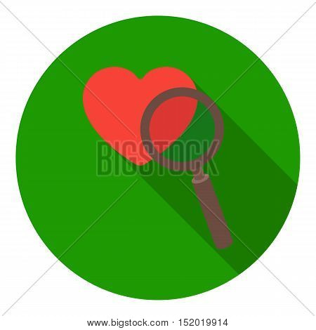 Searching a love icon in flat style isolated on white background. E-commerce symbol vector illustration.