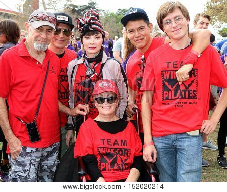 LOS ANGELES - OCT 16: Mari Winsor (in wheelchair), friends, family and Toni Basil in Stripped headscarf at the ALS Los Angeles County Walk at the Exposition Park on October 16, 2016 in Los Angeles, CA
