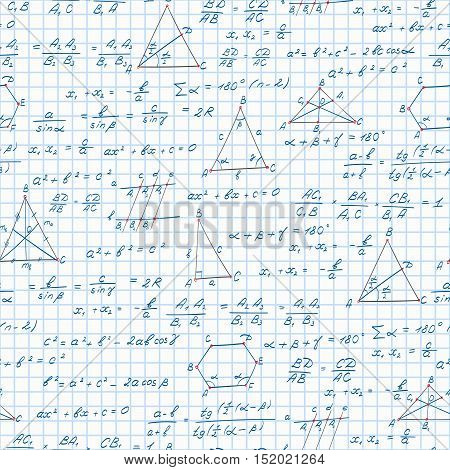 Seamless pattern on the theme of the subject of geometry formulas and graphs theorems on the notebook sheet in a cage