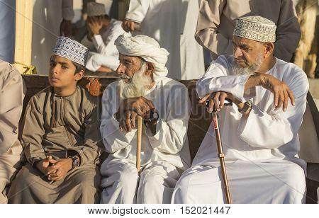 Nizwa Oman October 13th 2016: Men at Nizwa goat aucion