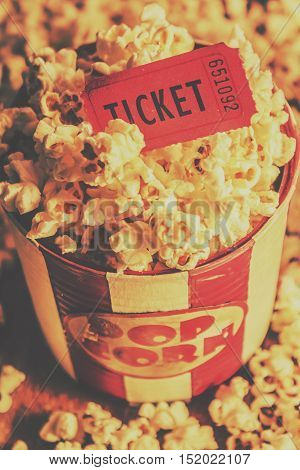 Retro Film Stub And Movie Popcorn