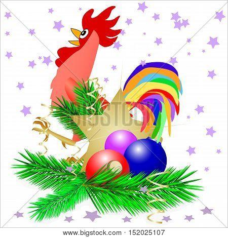 christmas star and three cristmas balls with burning cock