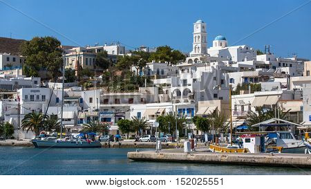 MILOS, GREECE - SEP 26, 2016: Views of the Marina from the sea. The island is famous for the statue of Aphrodite (