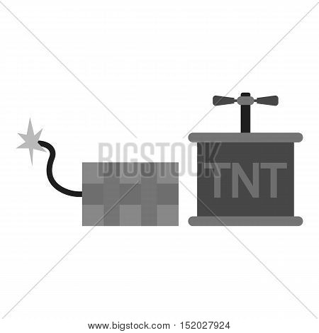 Dynamite icon in monochrome style isolated on white background. Mine symbol vector illustration.