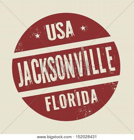 Grunge vintage round stamp with text Jacksonville Florida vector illustration