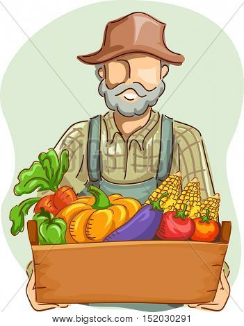 Illustration of a Farmer in Overalls and a Straw Hat Carrying a Crate Full of Freshly Picked Vegetables