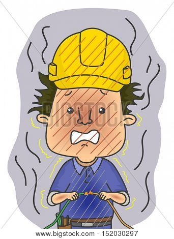 Illustration of a Shocked Electrician in Safety Helmet Frying After Holding a Live Wire