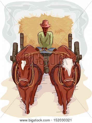 Illustration of a Farmer in a Straw Hat Transporting Hay with the Help of a Traditional Cart Pulled by a Pair of Horses