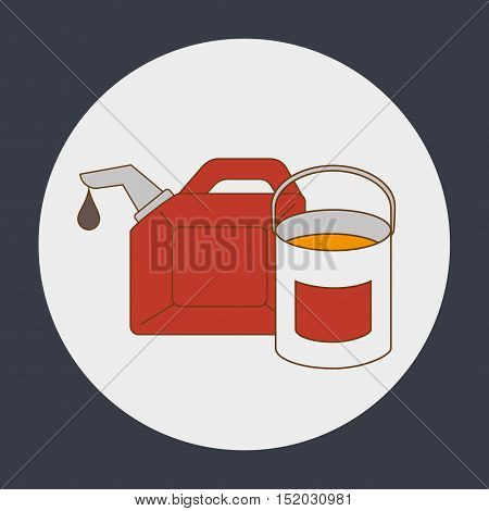 oil gallon and paint bucket over white circle and black background. vector illustration