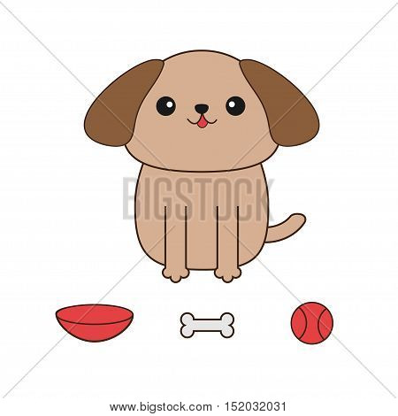 Little glamour tan Shih Tzu dog. Ball toy bone bowl. Cute cartoon character. Pet baby collection. Isolated. White background. Flat design. Vector illustration.
