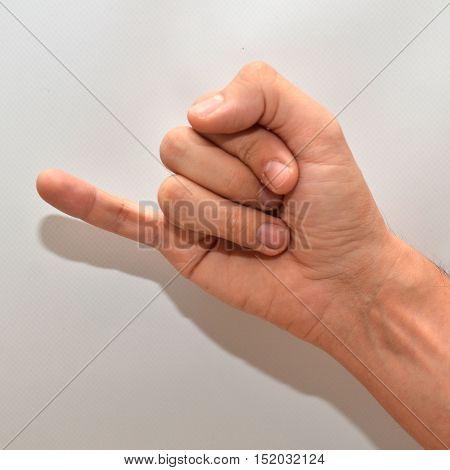 Letter J in American Sign Language (ASL) for deaf people