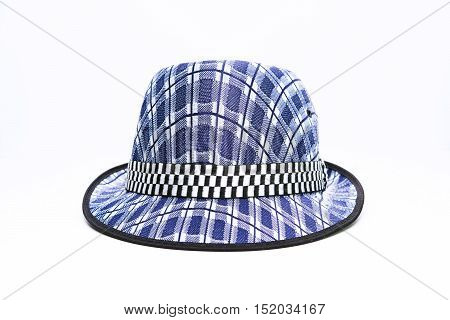 Vintage, felt trilby/fedora hat with plaid blue pattern on a white background.