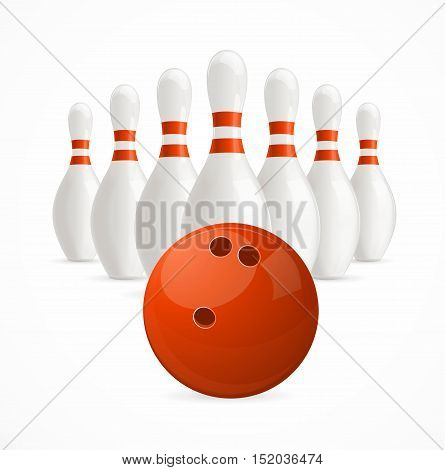 Group of White Bowling Pins and Ball. Vector illustration