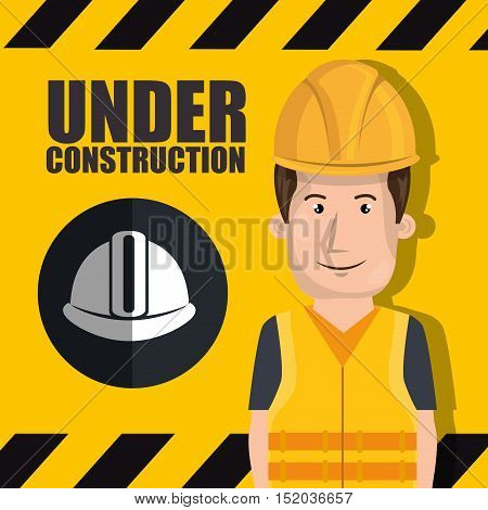 avatar construction worker smiling with yellow helmet safety equipment. vector illustration