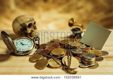 Focus In Label Gray.pile Of Money, Thai Coins Of One Bath On Wood Element Antique Clock,skull,vintag