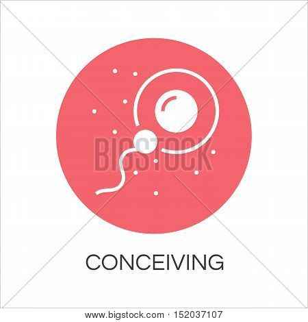 Sperm icon fertilizing egg cell. Logo drawn in flat style. Simple red image of newborn concept. Label for your design needs. Vector contour graphics