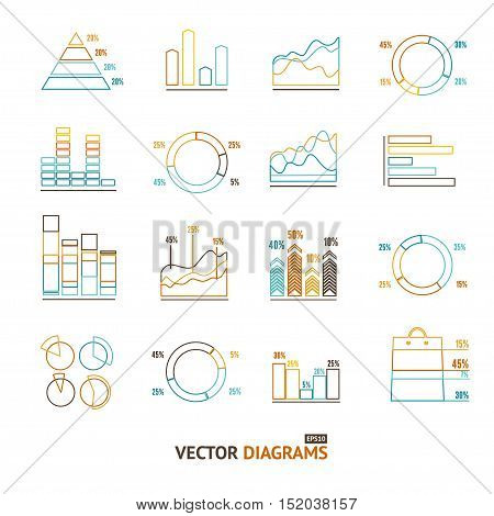 Infographic Outline Set Element Graph and Charts, Diagrams. Pixel Perfect Art. Material Design. Vector illustration
