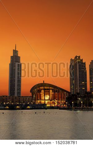 DUBAI, UAE - OCTOBER 11, 2016: The new iconic dhow-shaped building of Dubai Opera is a masterpiece of contemporary design, and opened on 31st August 2016