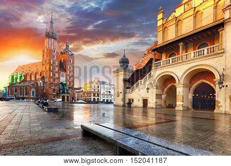Krakow Market Square Poland at a sunrise