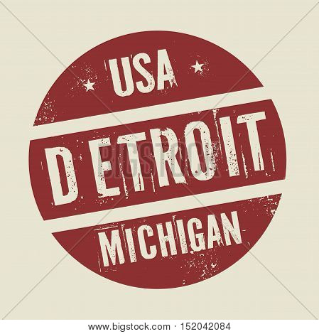 Grunge vintage round stamp with text Detroit Michigan vector illustration
