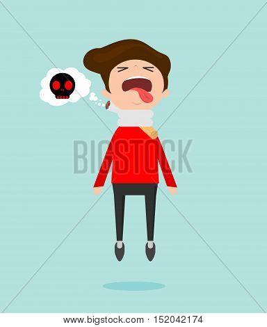 Cigarette kills man on blue Background, cartoon vector illustration, World No Tobacco Day, No smoking, Concept Stop Smoking