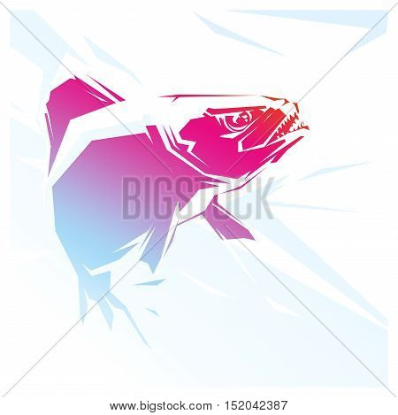 illustration with a red fish Piranha. predator