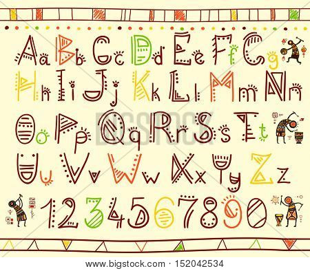 Vector alphabet in african ethnic style