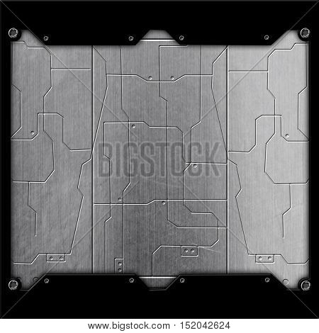 Scifi Wall. Chrome Metal Wall And Circuits. Metal Background