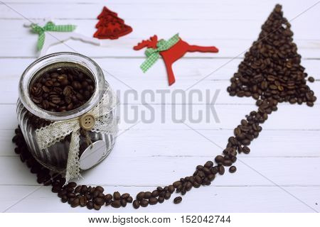 coffee bean in a bowl on white background