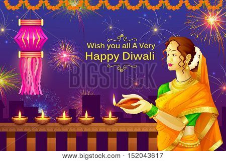 vector illustration of Indian lady with diya for Happy Diwali holiday of India
