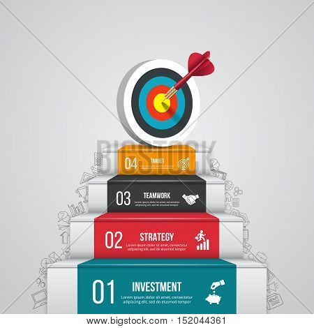 Vector illustration of 4 steps to success with target and dart. Can be used for infographic, banner, diagram, step up options. Doodles icons set.