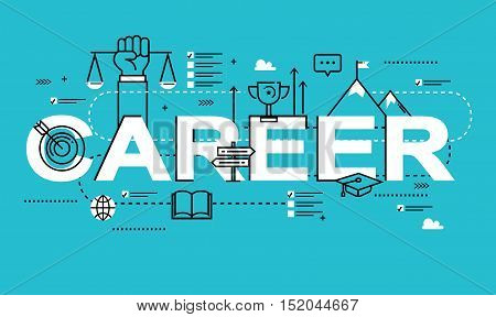 Word CAREER, line flat vector business design for job candidate evaluation, interviewing, assessment, recruiting. Resources and corporate management, hiring, employment, freelance, jobs,career concept
