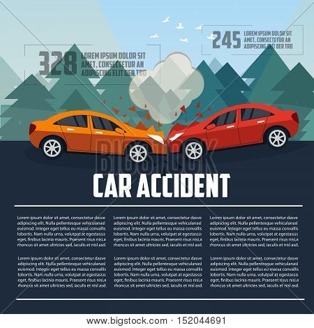 Car accident infographics. Car crash template flat style. Vector illustration.
