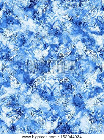 seamless oriental pattern with paisley. Indigo color, distressed jeans fabric effect. Tie dye paisleys ornaments. Very balances, for fashion or interior.