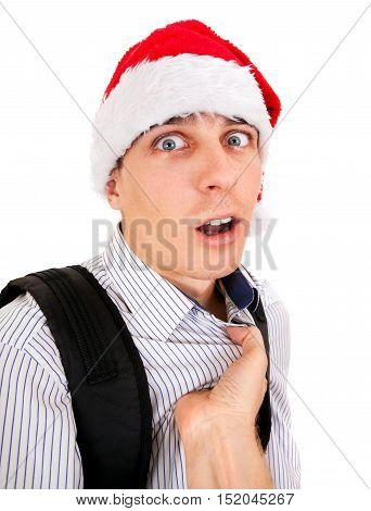 Person threatens to Teenager in Santa Hat Isolated on the White Background