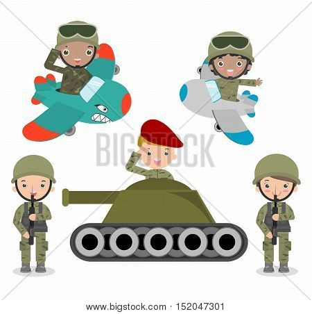 set of soldiers, cartoon Soldier set, kids wearing soldiers costumes, children Soldier,flat cartoon character design isolated on white background, US Army , soldiers Isolated vector illustration