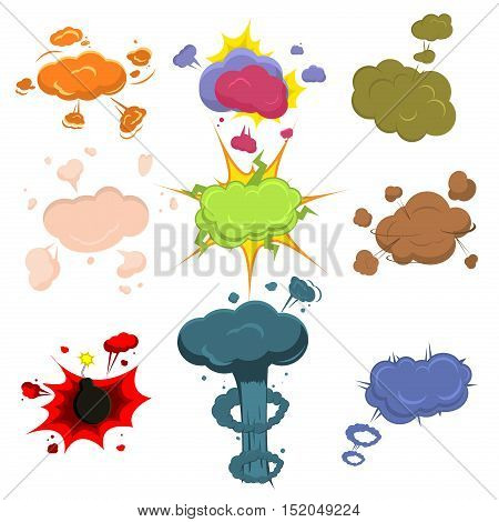 Cartoon explosion effect with smoke bomb fire. Effect bomb explosion explode flash bomb comic vector illustration. Animation frames game explosion fire design burst energy effect smoke.