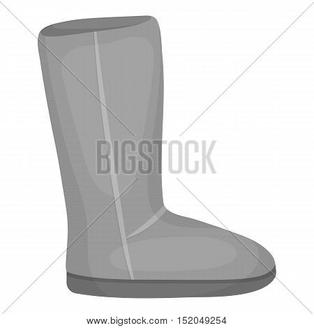 Ugg boots icon in monochrome style isolated on white background. Shoes symbol vector illustration.