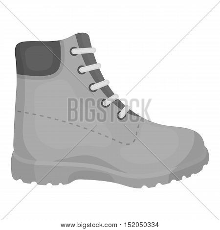 Hiking boots icon in monochrome style isolated on white background. Shoes symbol vector illustration.