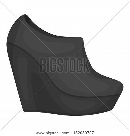 Wedge booties icon in monochrome style isolated on white background. Shoes symbol vector illustration.