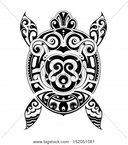 Turtle tattoo design drawn in Maori ethnic style