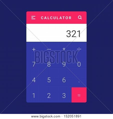 UI, UX and GUI template layout for Mobile Apps. Calculator screen. Pink and blue color ux app. User interface. Multiplication, addition, division, subtraction. Material design app calculator