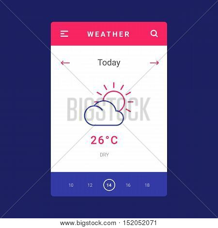 UI, UX and GUI template layout for Mobile Apps. Weather screen. Pink and blue color ux app. User interface. Daily weather controls. Timeline controls for mobile app. Icons and temperature