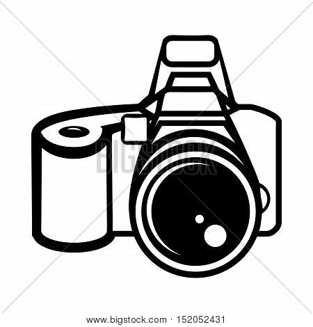 A camera digital professional, digital SLR. Icon, symbol, sign of the camera. Black and white vector illustration on white background.