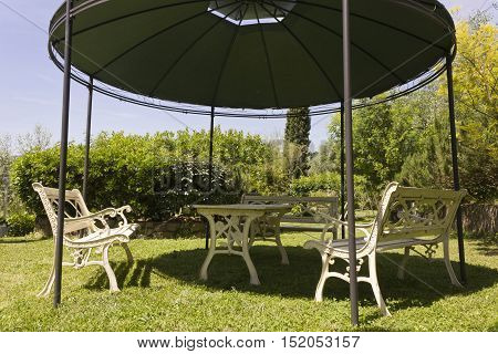 FIRENZE, ITALY - MAY 21 2016: Close up of an outdoor gazebo in a restaurant on florentine hills
