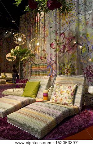 MILAN, ITALY - APRIL 15 2015: Missoni furniture set during the milanese design week in Milan on April 2015