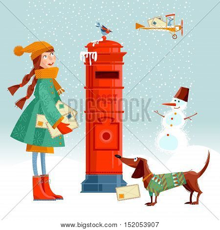 Little girl and dachshund at the post box sending letters to Santa. Vintage Christmas greeting card. Vector illustration.